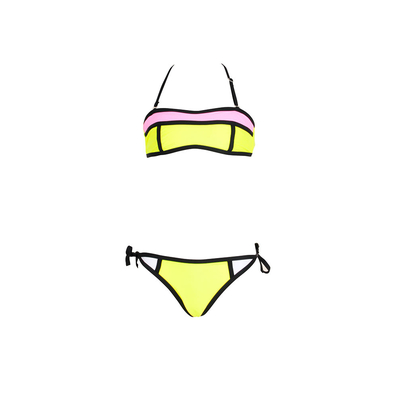 Girl yellow bandeau two-piece bikini