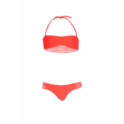 Mon Mini Teenie Bikini coral pink - Girls twisted bandeau two-piece swimsuit