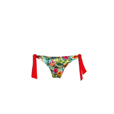 Mon Tanga Hawaï - Knotted multicoloured printed brazilian bikini (Bottom)