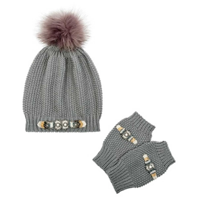 Amenapih by Hipanema grey beanie and mittens Felicity