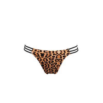 Mon Mini Itsy Bikini Tanga with multi-stripes in leopard and black  (bottom)