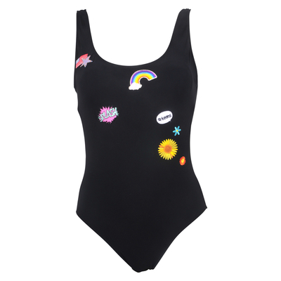 TEENS - One-piece swimsuit with patchs black