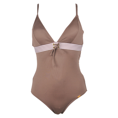 One-piece swimsuit Basil brown with triangle top