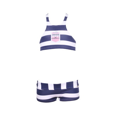 Girls two-piece bikini Team white blue striped