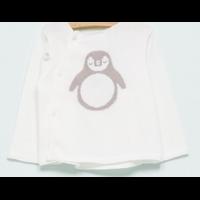 Brassière/Cardigan Ecru avec Pingouin