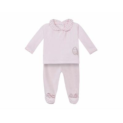 Pyjama deux pièces - Velours Rose pâle.