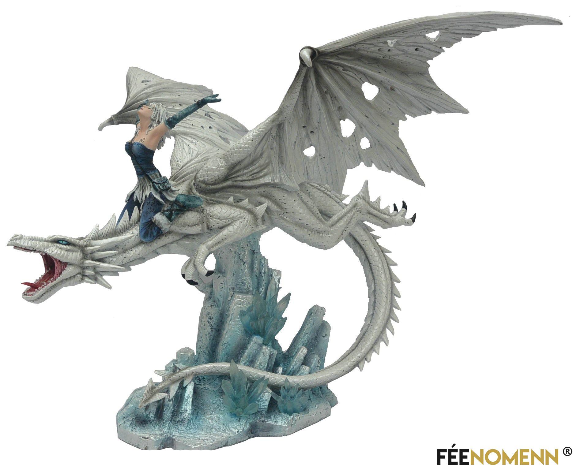 Statuette Elfe Délenna et Dragon Dallan (H36 x L43cm)