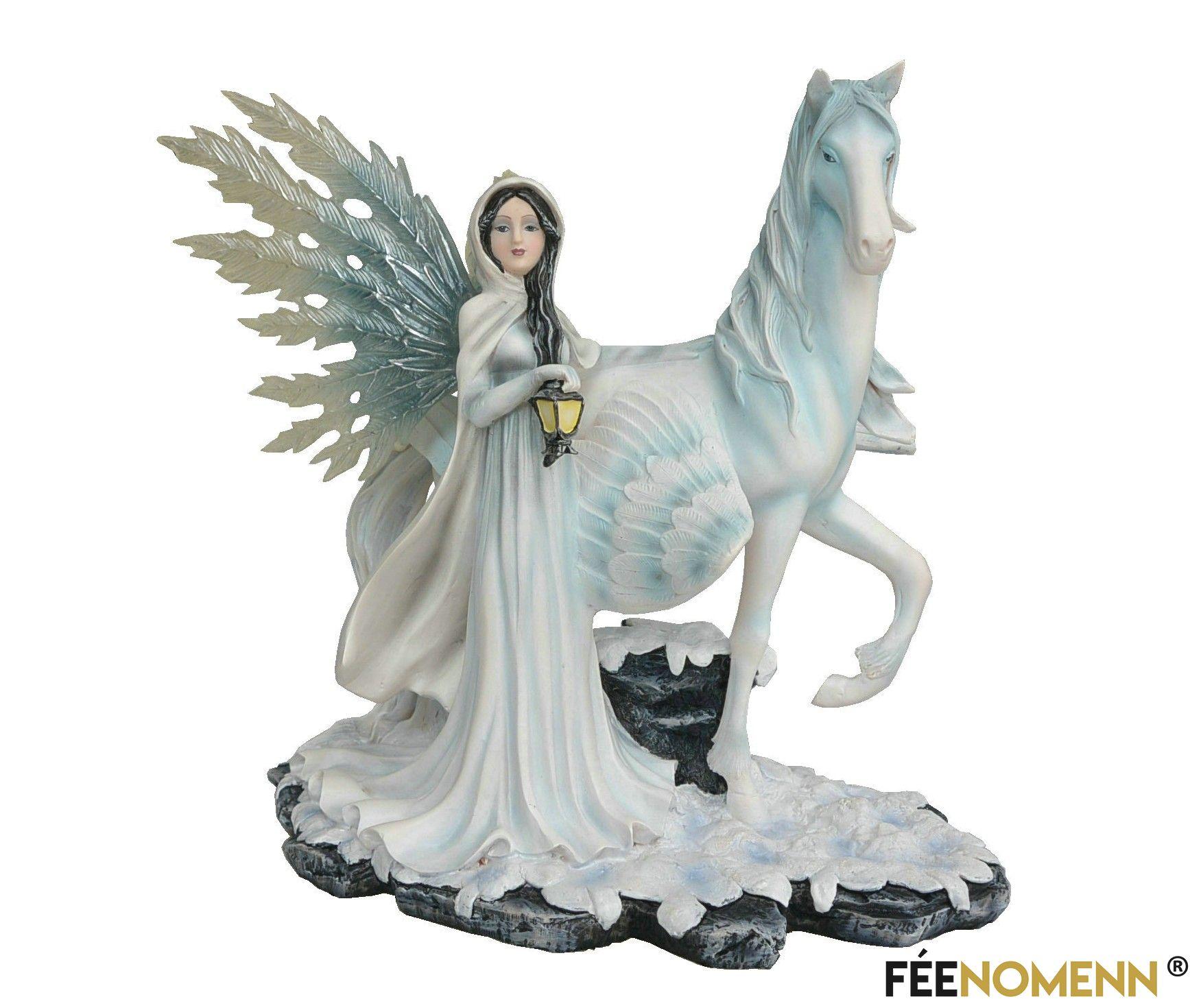 Statuette Fée Barbara et sa Licorne (H32 x L32cm)