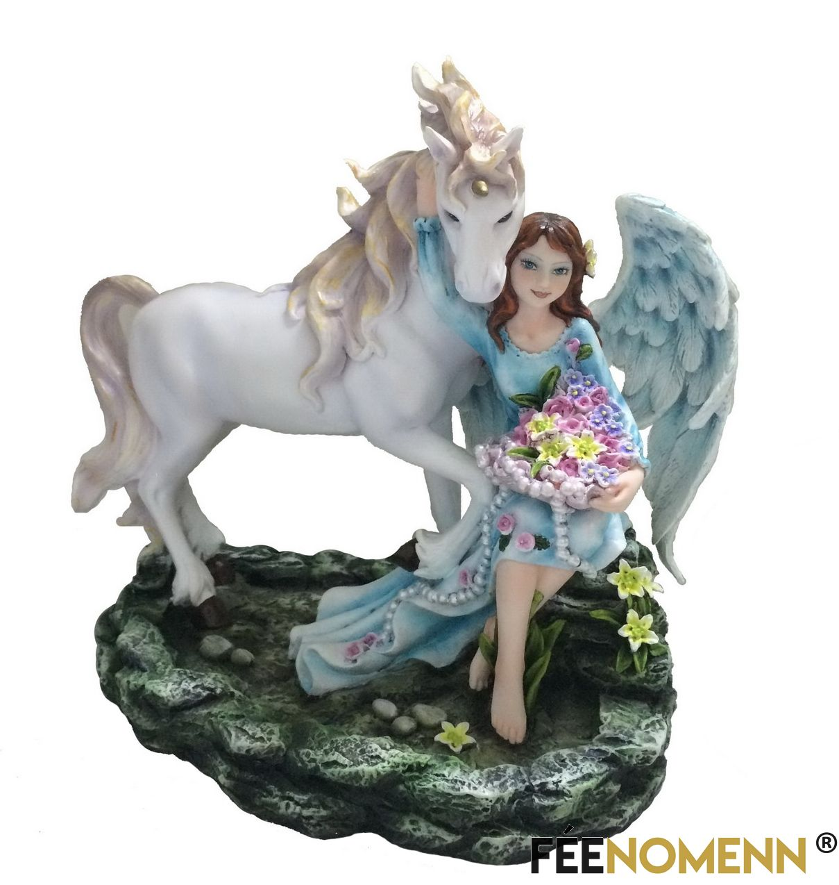 Statuette Fée Maéda et sa Licorne (H23 x L21cm)