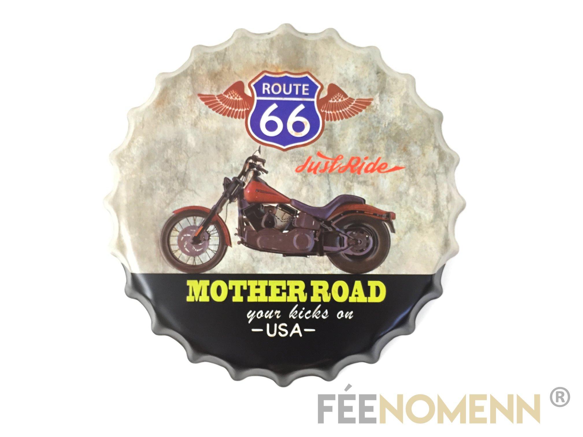 Capsule Métal Vintage -  Harley Route 66 Mother Road (Diam. 40cm)