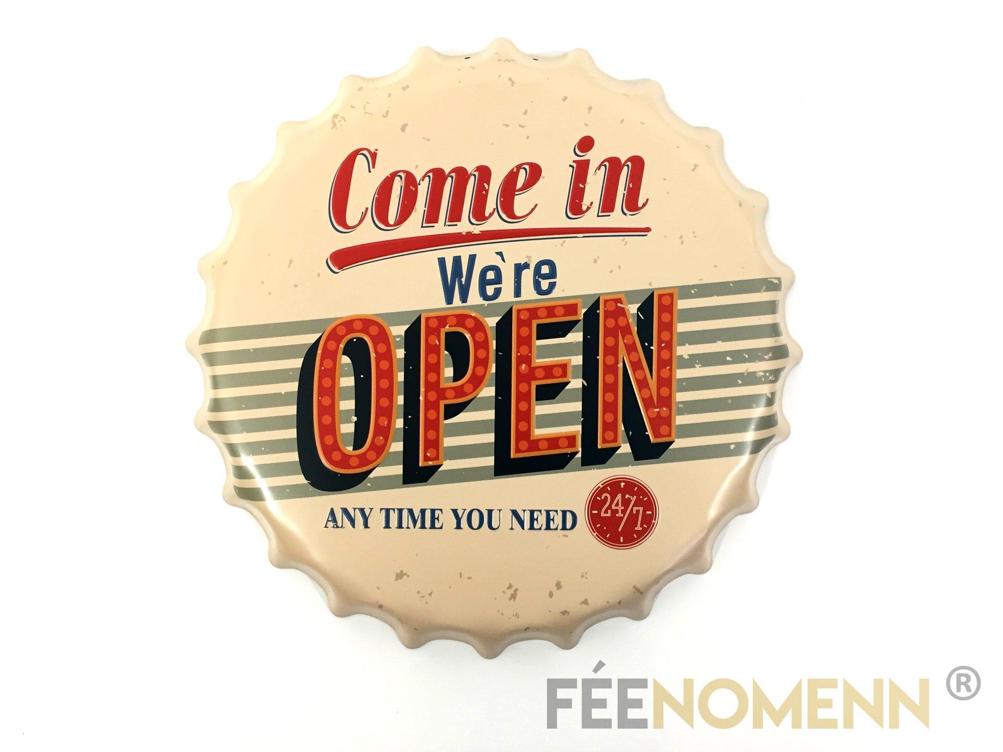 Capsule Métal Vintage - Come In We\'re Open (Diam. 40cm)
