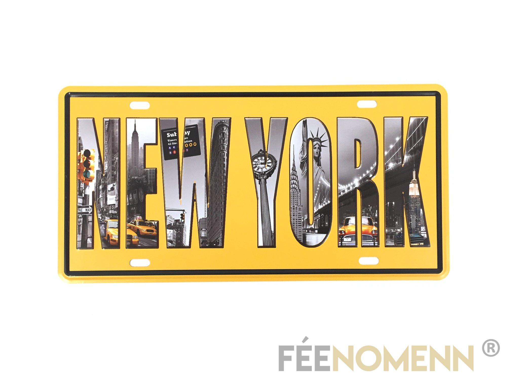 Plaque Métal Immatriculation Vintage - NEW YORK (15x30cm)