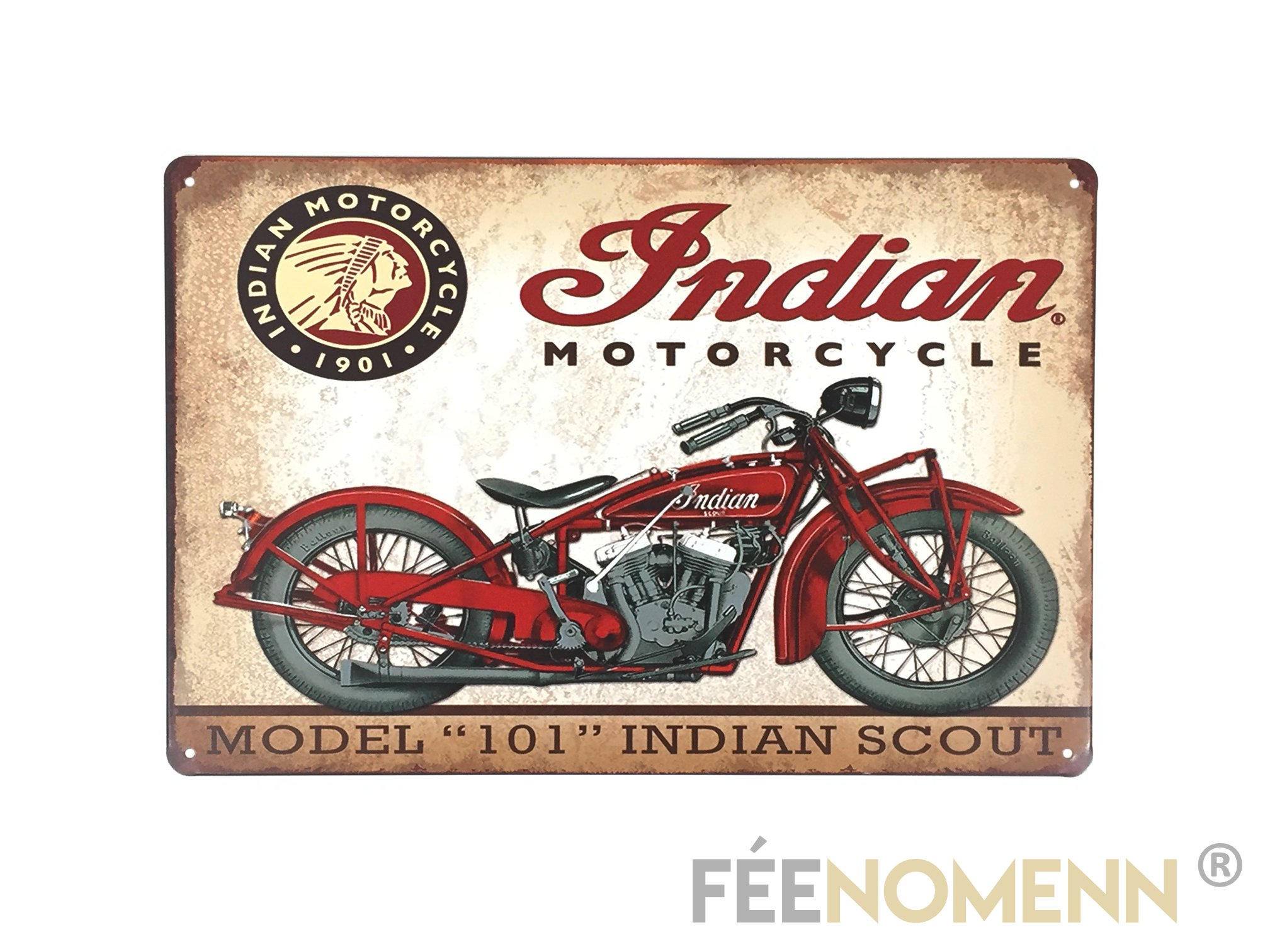 plaque m tal d co vintage indian motorcycle 20x30cm d co accessoires plaques metal. Black Bedroom Furniture Sets. Home Design Ideas