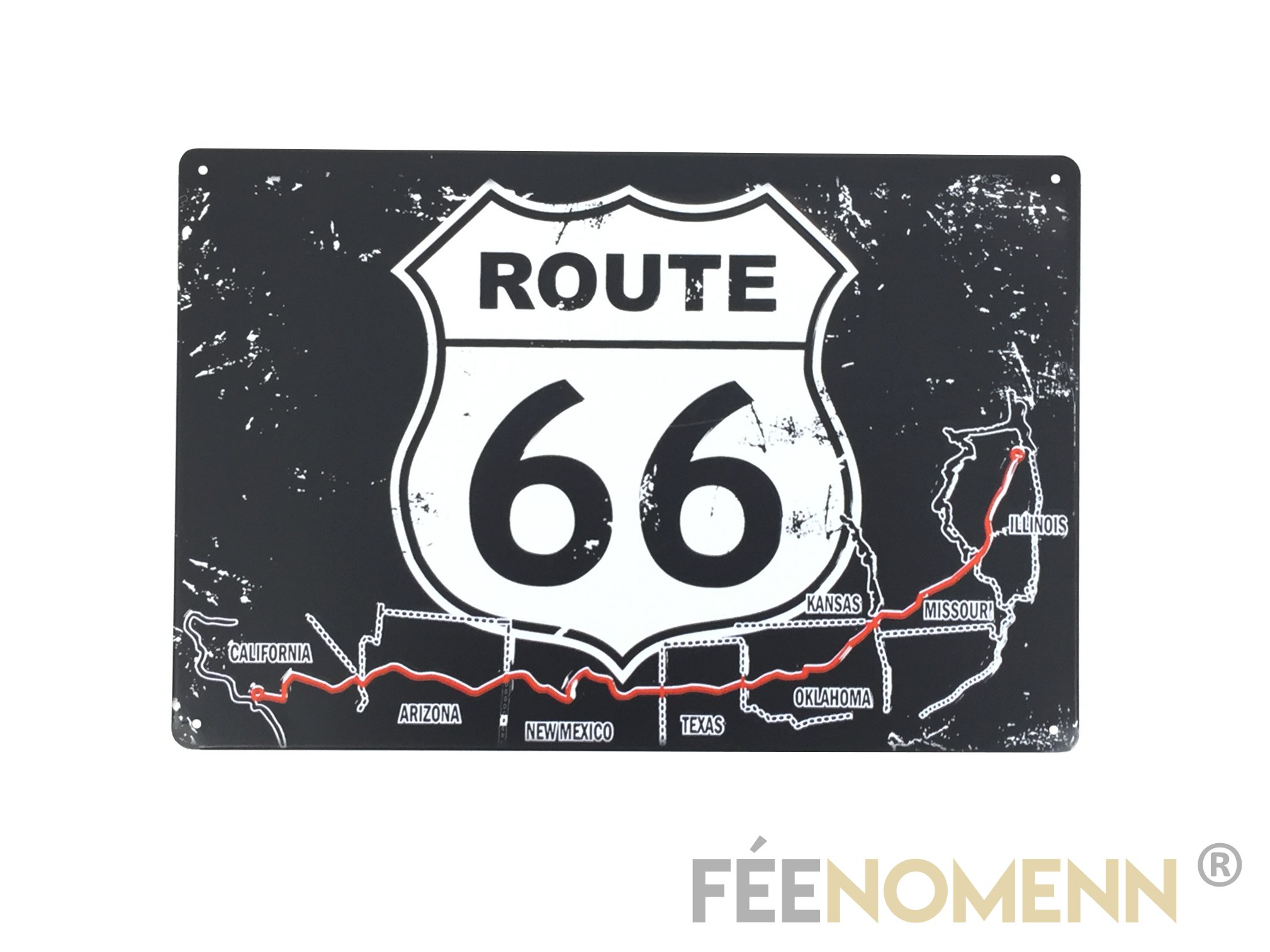 plaque m tal d co vintage trac route 66 20x30cm d co accessoires plaques metal f enomenn. Black Bedroom Furniture Sets. Home Design Ideas