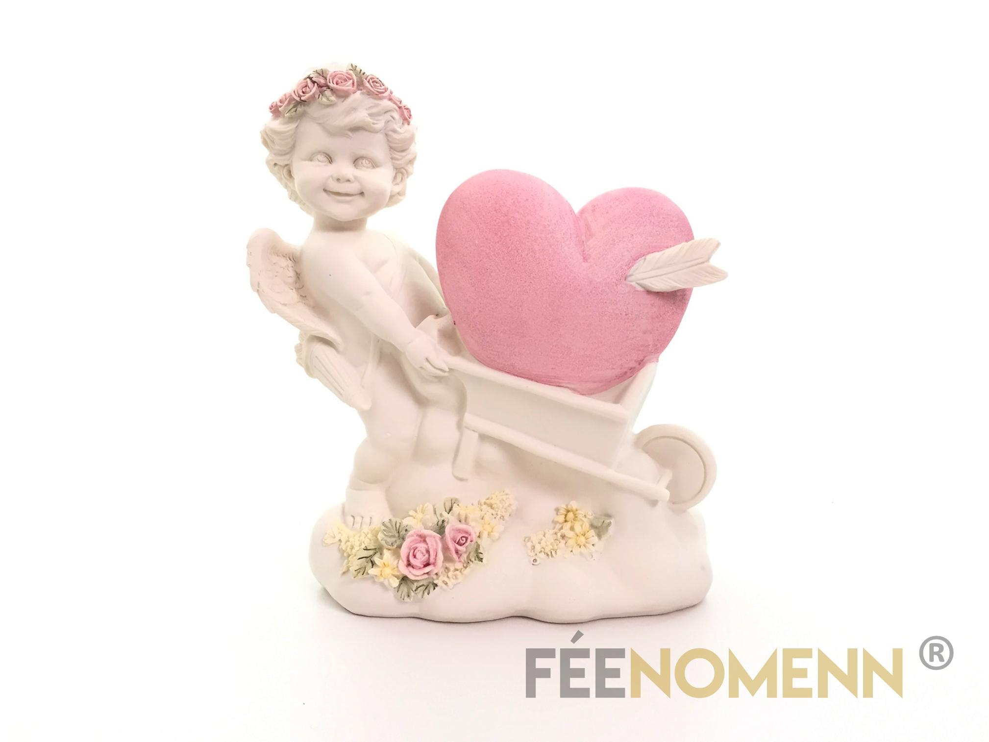 Statuette Ange Cupidon Brouette