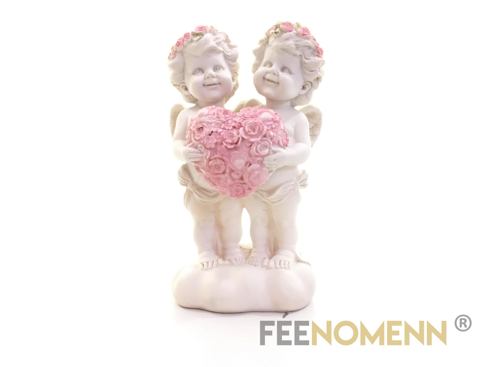 Statuette Couple Ange Coeur