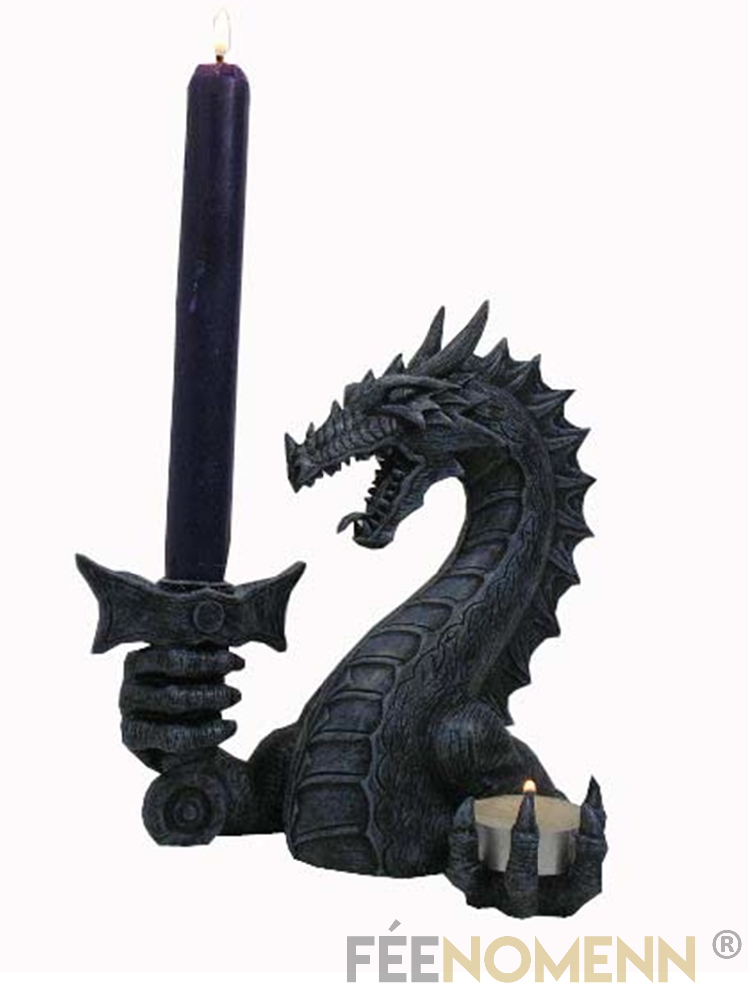 Bougeoir Dragon Noir (H21 x L19cm)