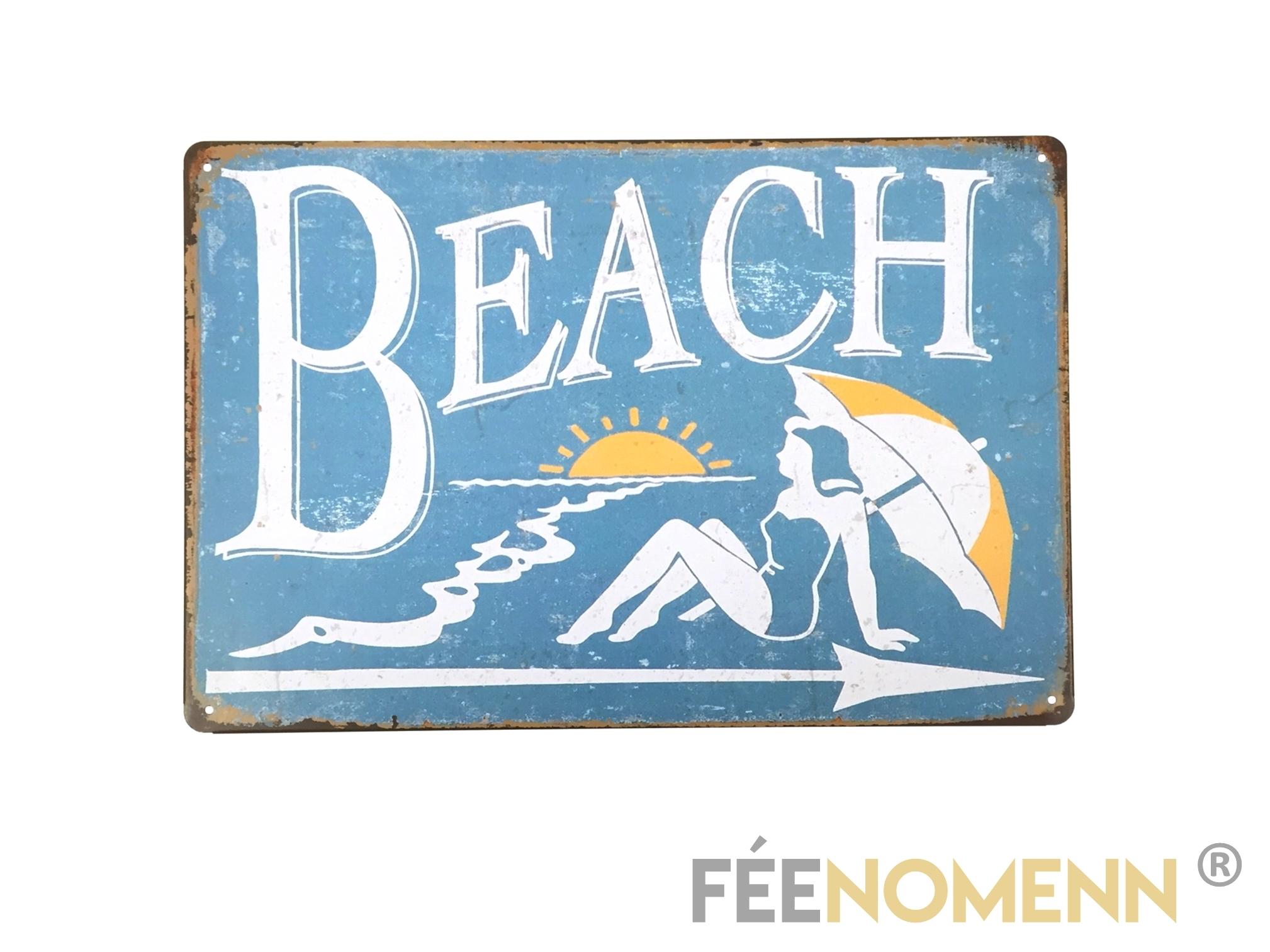 plaque m tal d co vintage beach 20x30cm d co. Black Bedroom Furniture Sets. Home Design Ideas