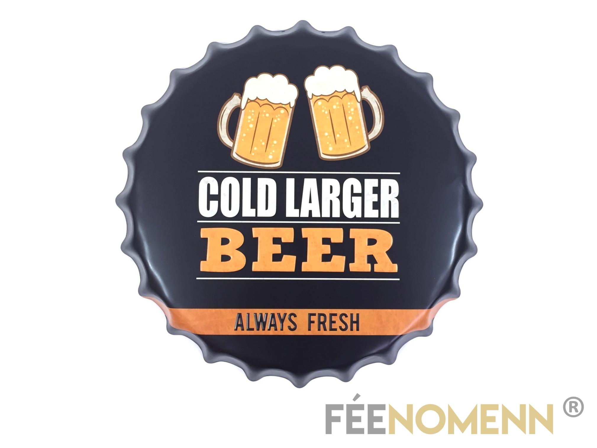 Capsule Métal Vintage - Bière - Cold Larger Beer (Diam. 40cm)