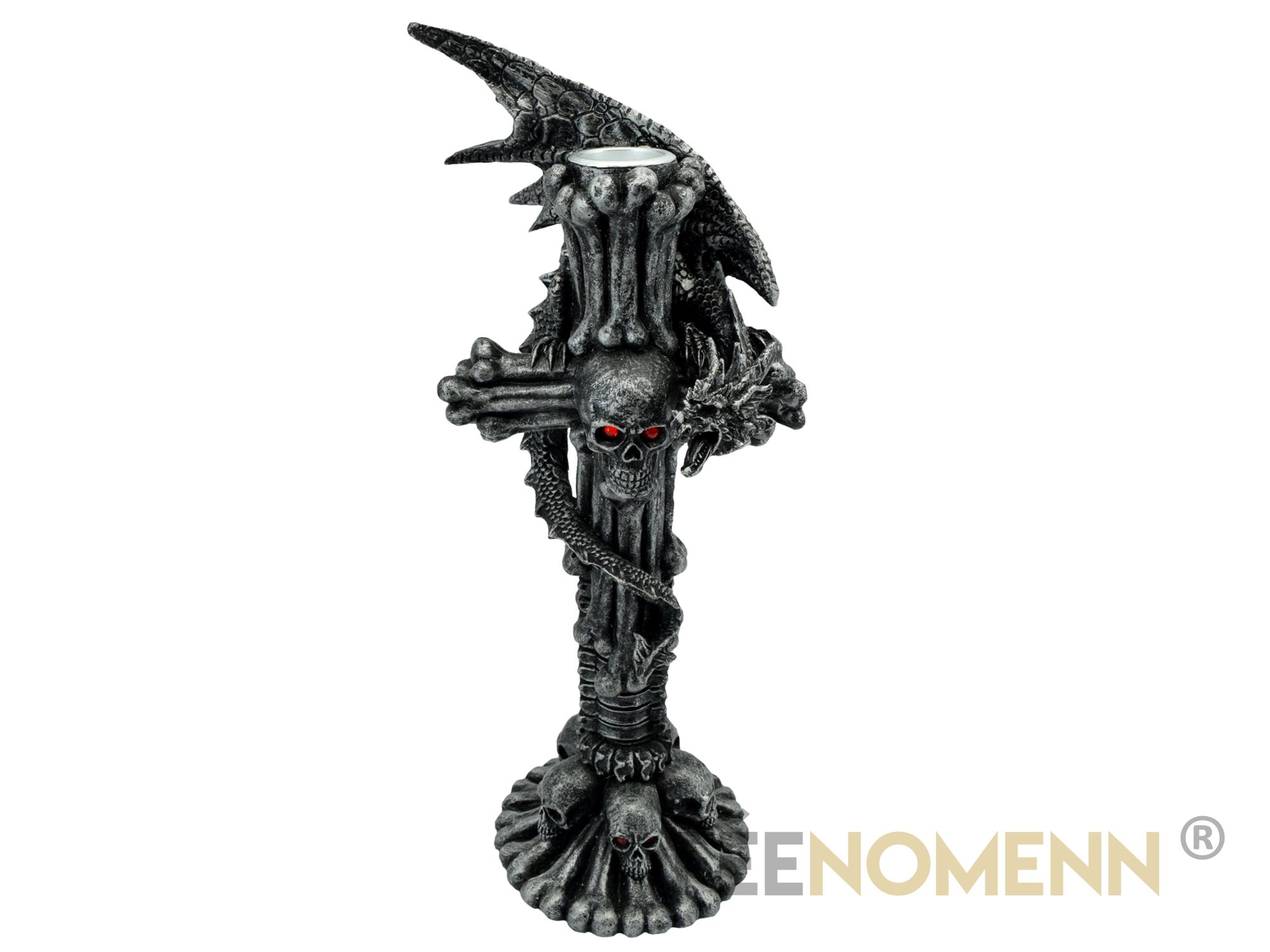 Bougeoir Gothique Dragon sur Croix (H25 x L11cm)