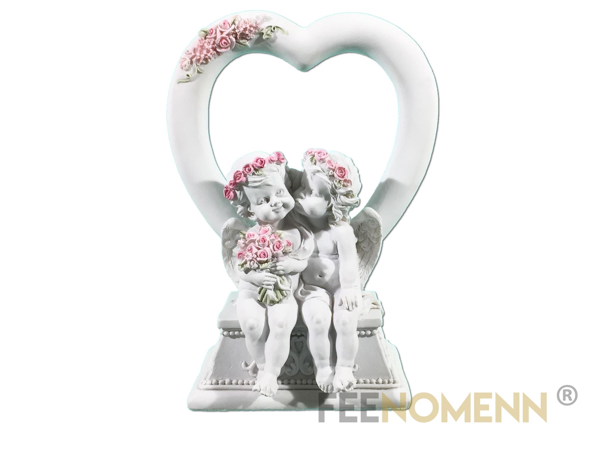 Statuette Couple Ange Coeur (H19cm x L14cm)