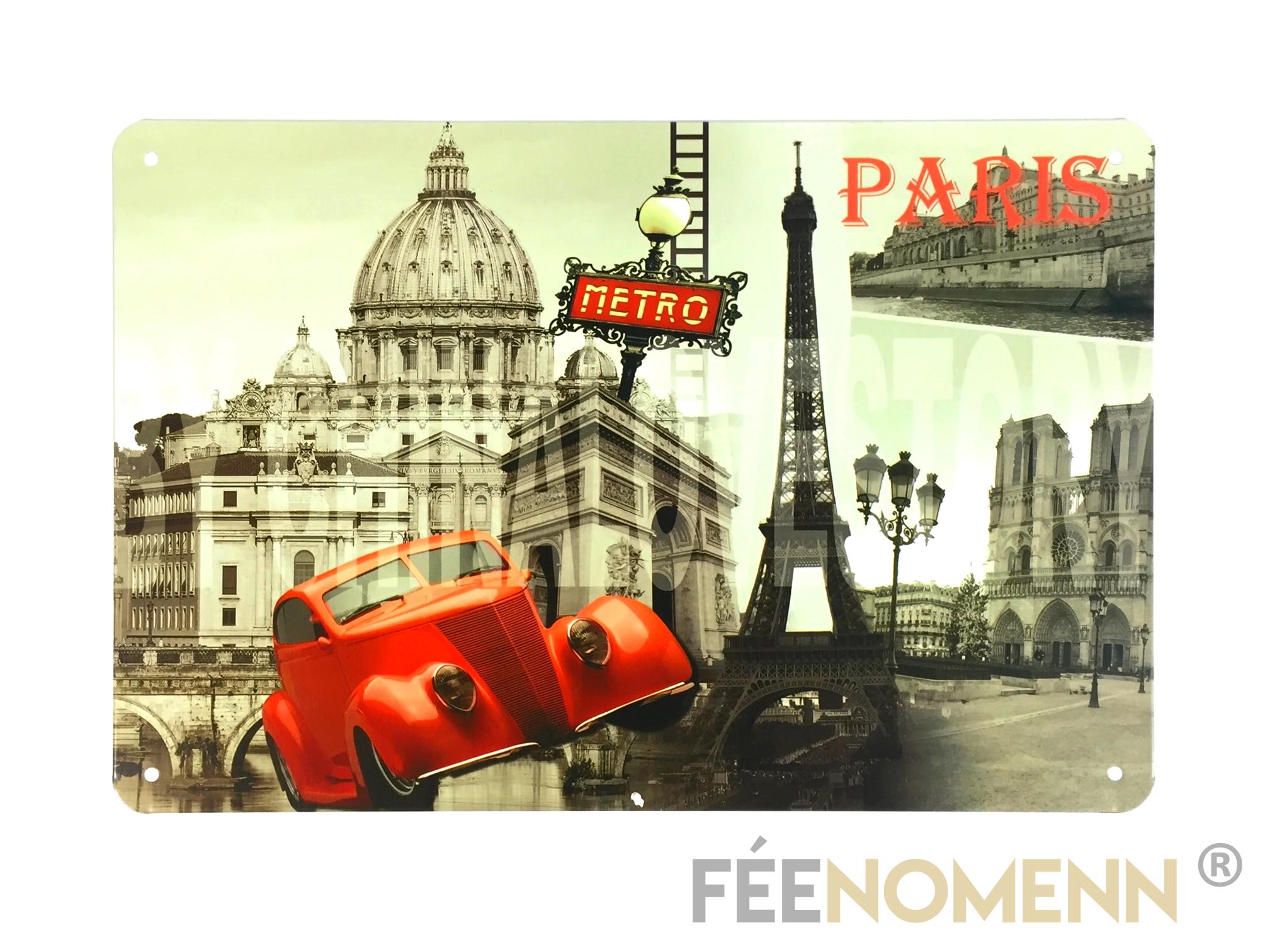 Plaque Metro Parisien Deco plaque métal déco vintage - metro paris 2 cv rouge - couleur sélective  (20x30cm)