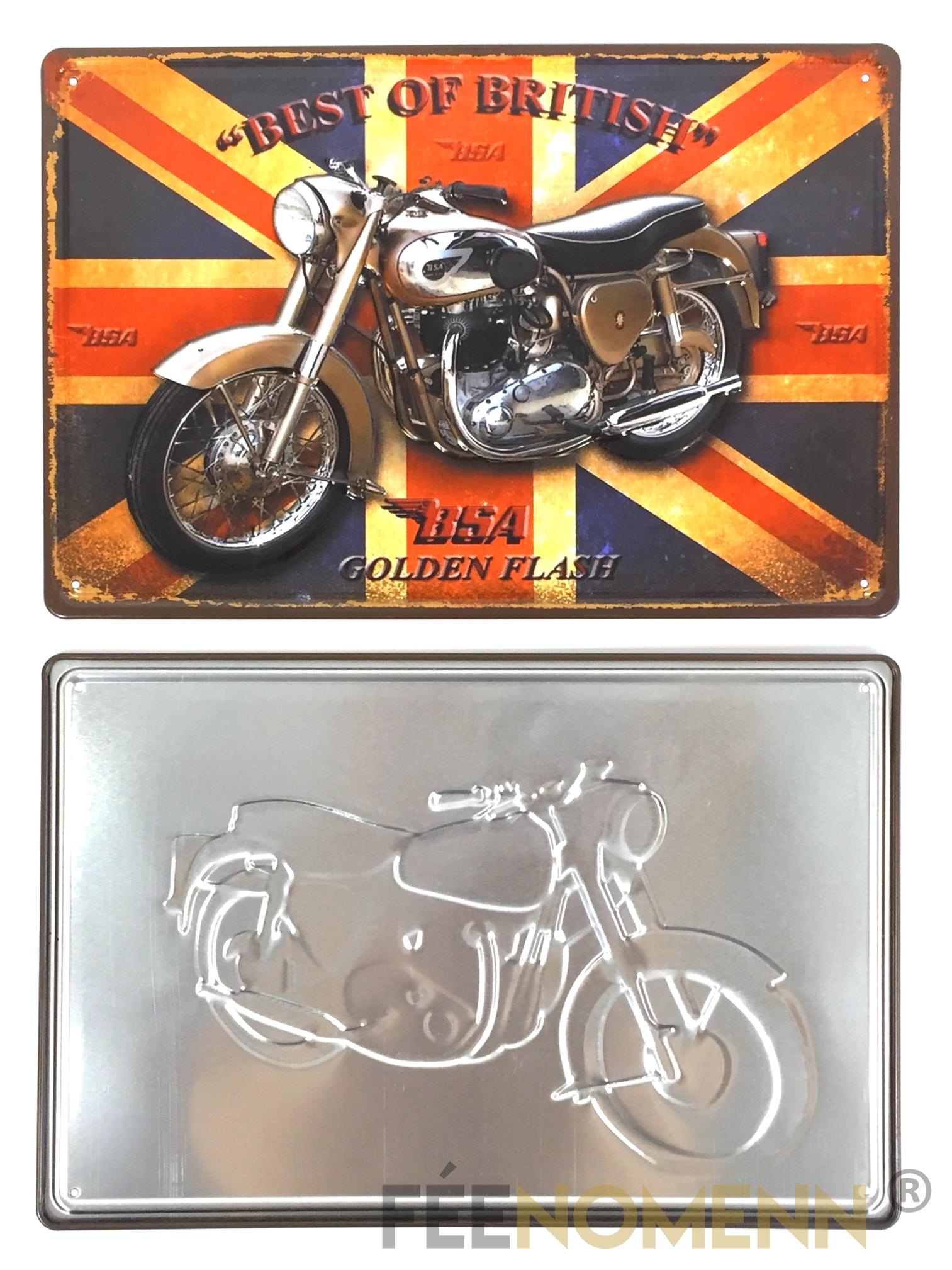 plaque métal déco vintage - effet relief - moto british golden flash