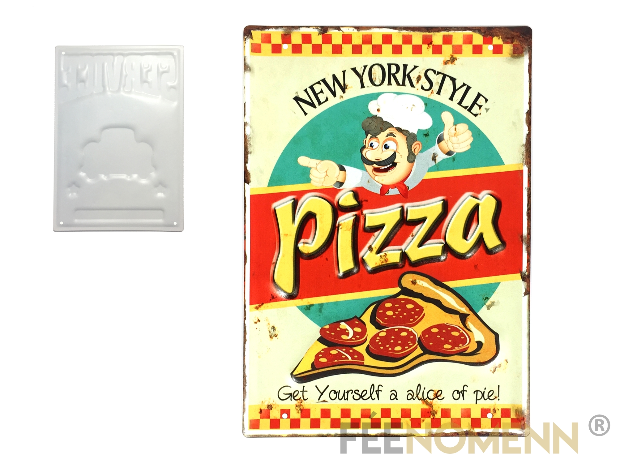 Plaque Metal Deco Vintage Effet Relief Pizza New York Style