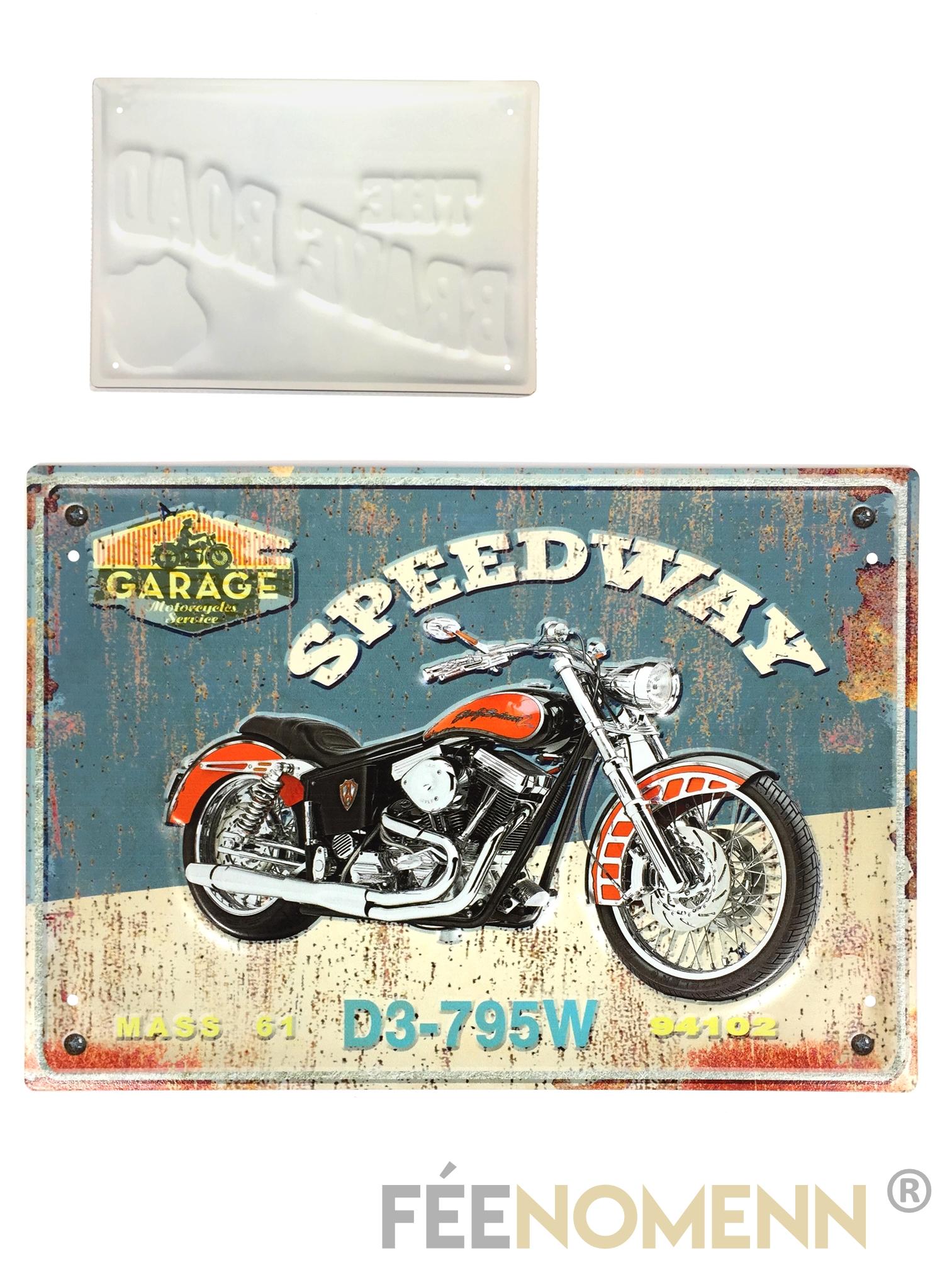 Plaque Métal Déco Vintage Effet Relief Moto Harley Speedway