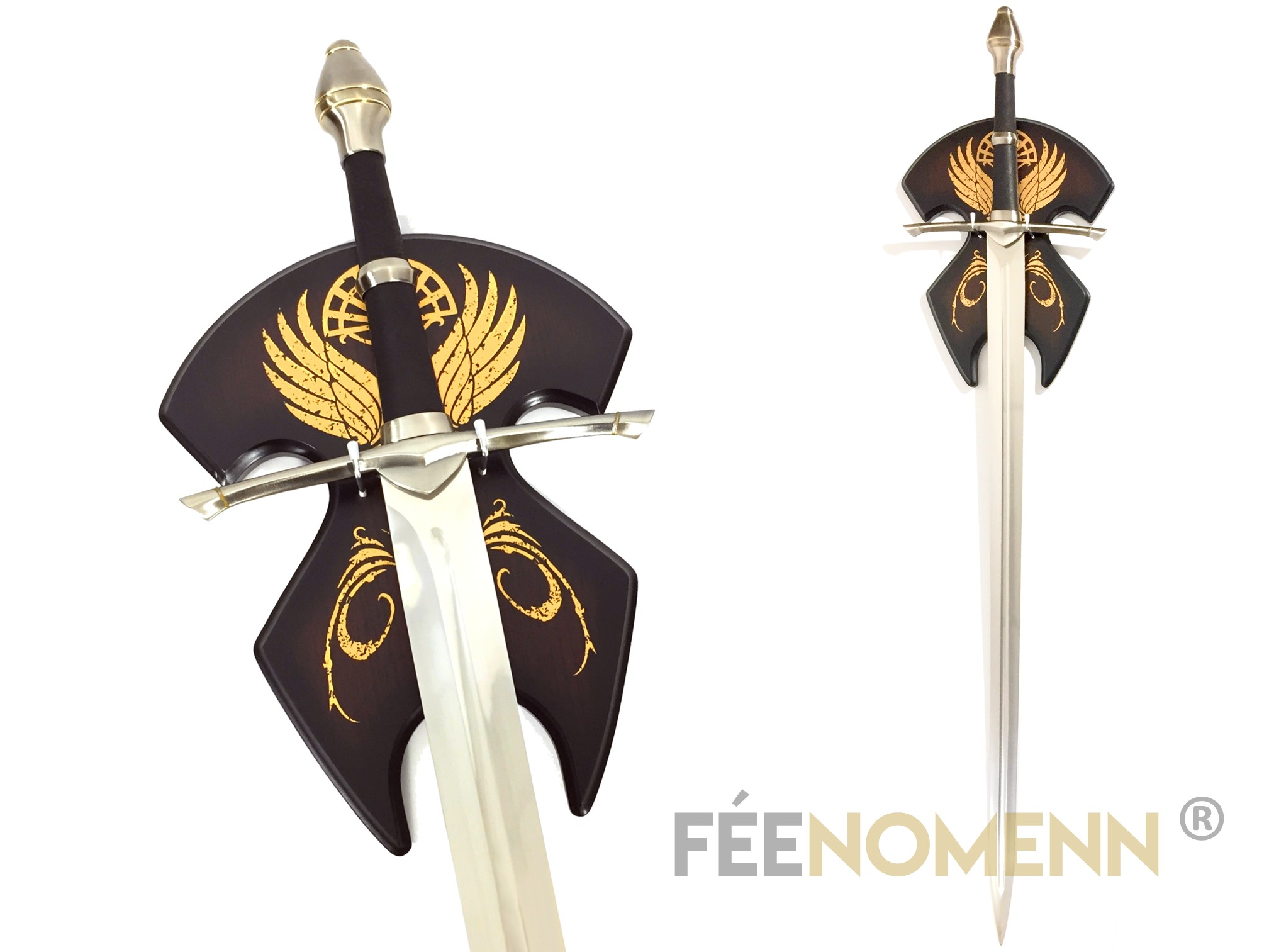 LE SEIGNEUR DES ANNEAUX - Réplique Épée ARAGORN (version avec plaque murale)