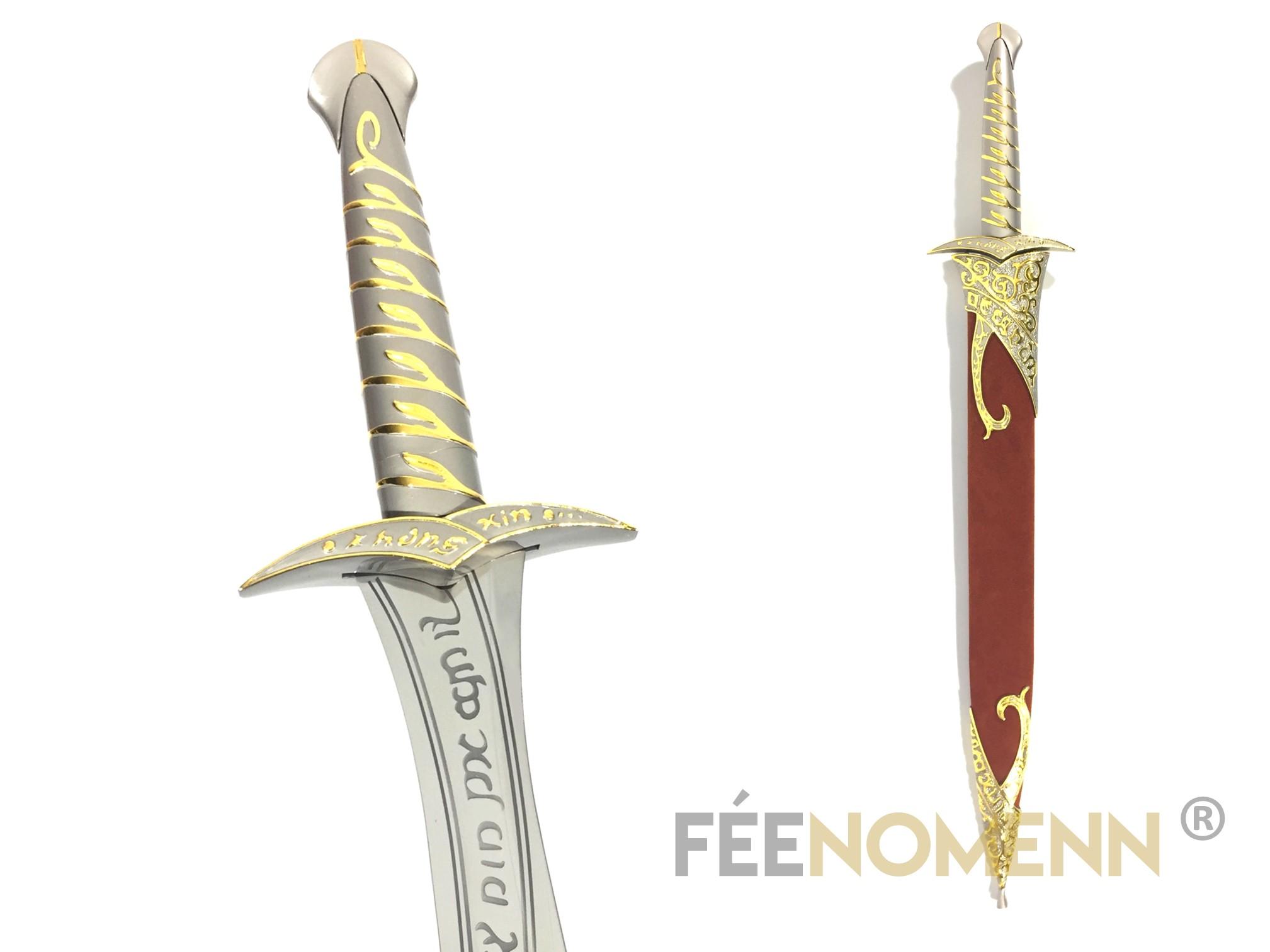 LE SEIGNEUR DES ANNEAUX / HOBBIT - Réplique Épée FRODON / BILBON - DARD (long gold édition)