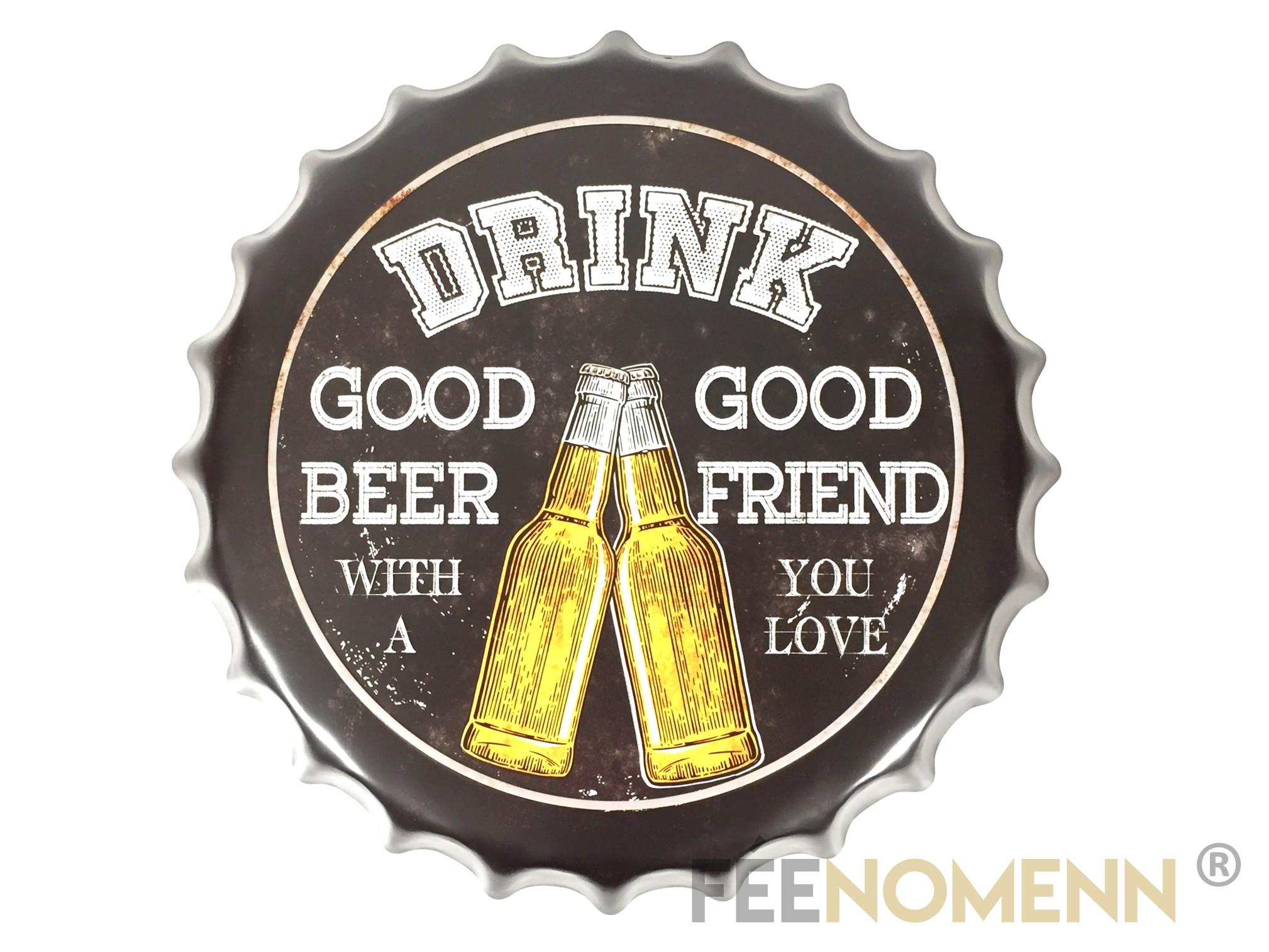 Capsule Métal Vintage - Bière - DRINK Good Beer with Good Friend (Diam. 40cm)