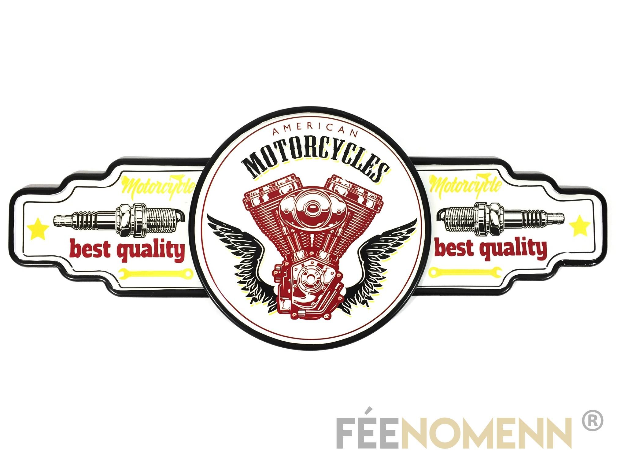 Déco Murale Vintage en Métal - American Motorcycles Best Quality - Bougies Moto (75x30cm)