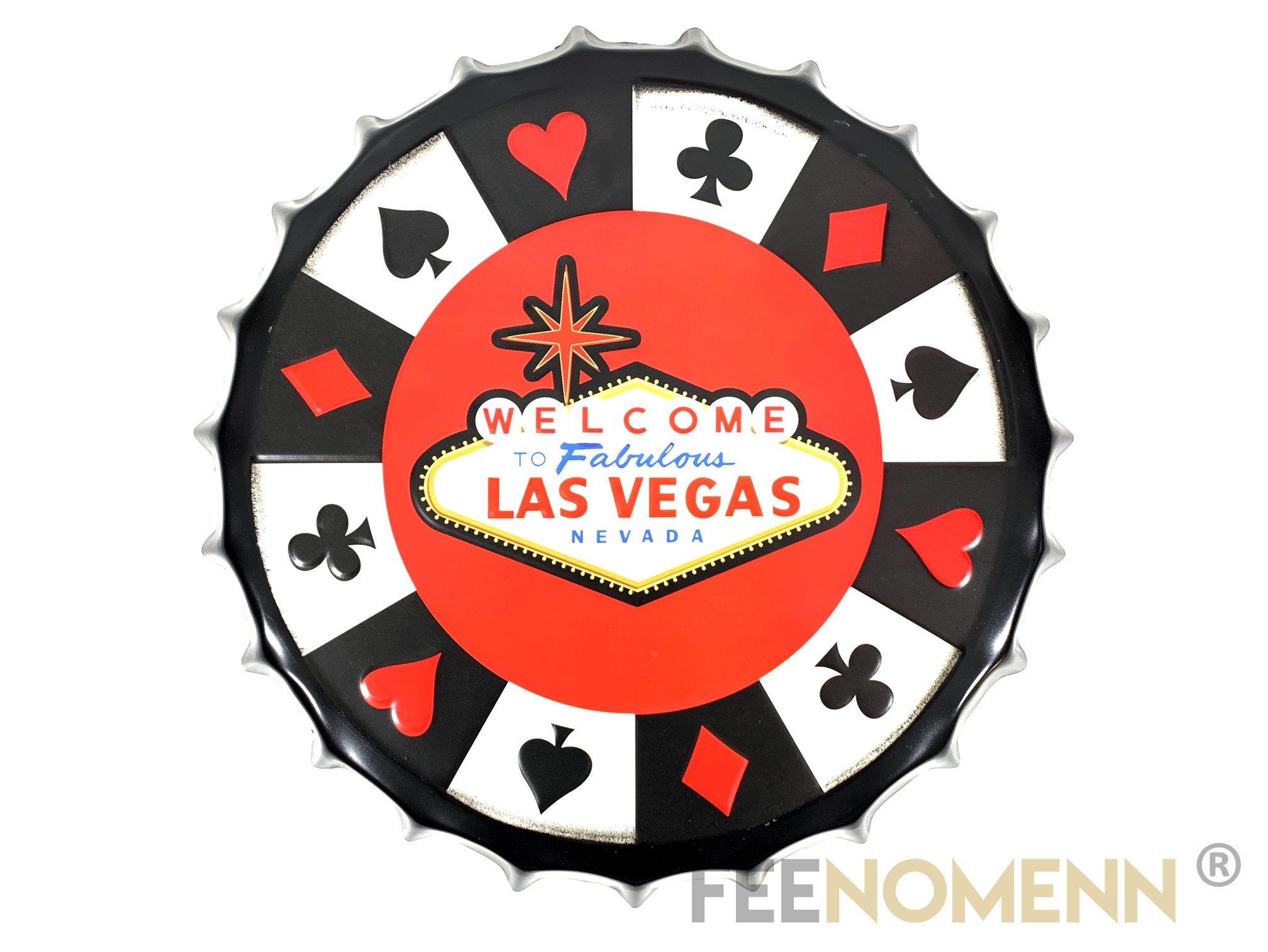 Capsule Métal Vintage - Casino Welcome to Fabulous LAS VEGAS (Diam. 40cm)