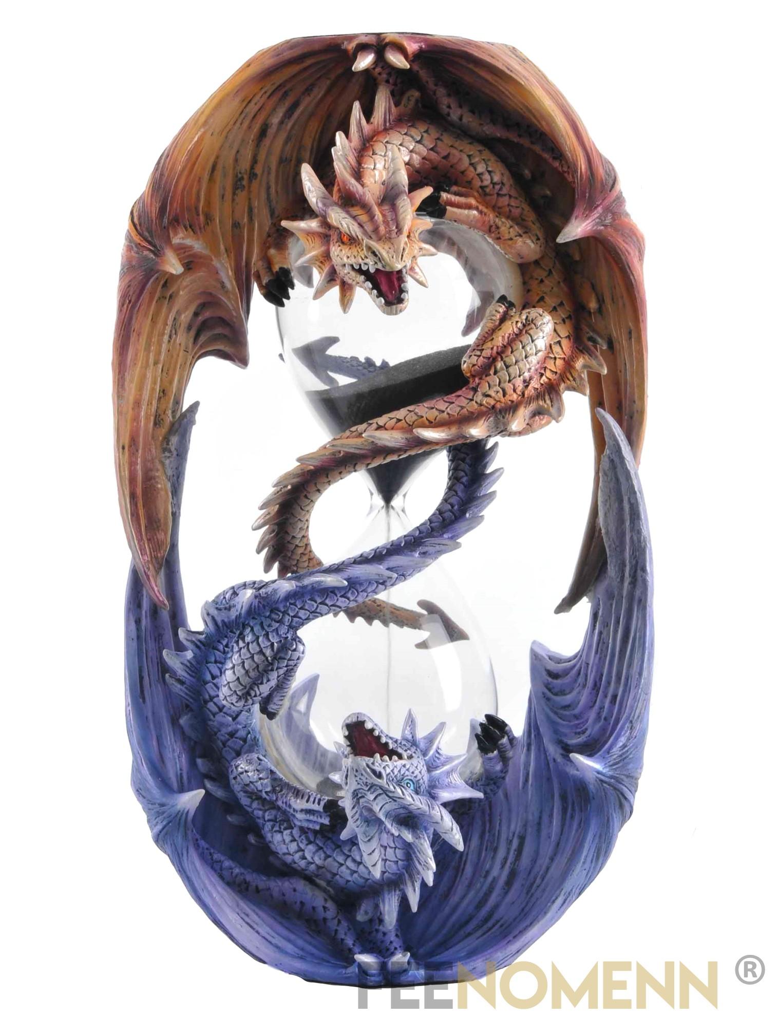 Statuette Dragons avec Sablier (H21 x L12cm)