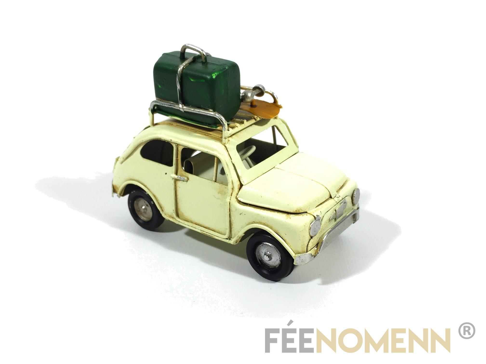 Voiture Métal Deco Vintage - Ancienne 500 avec Bagages (11x5cm)