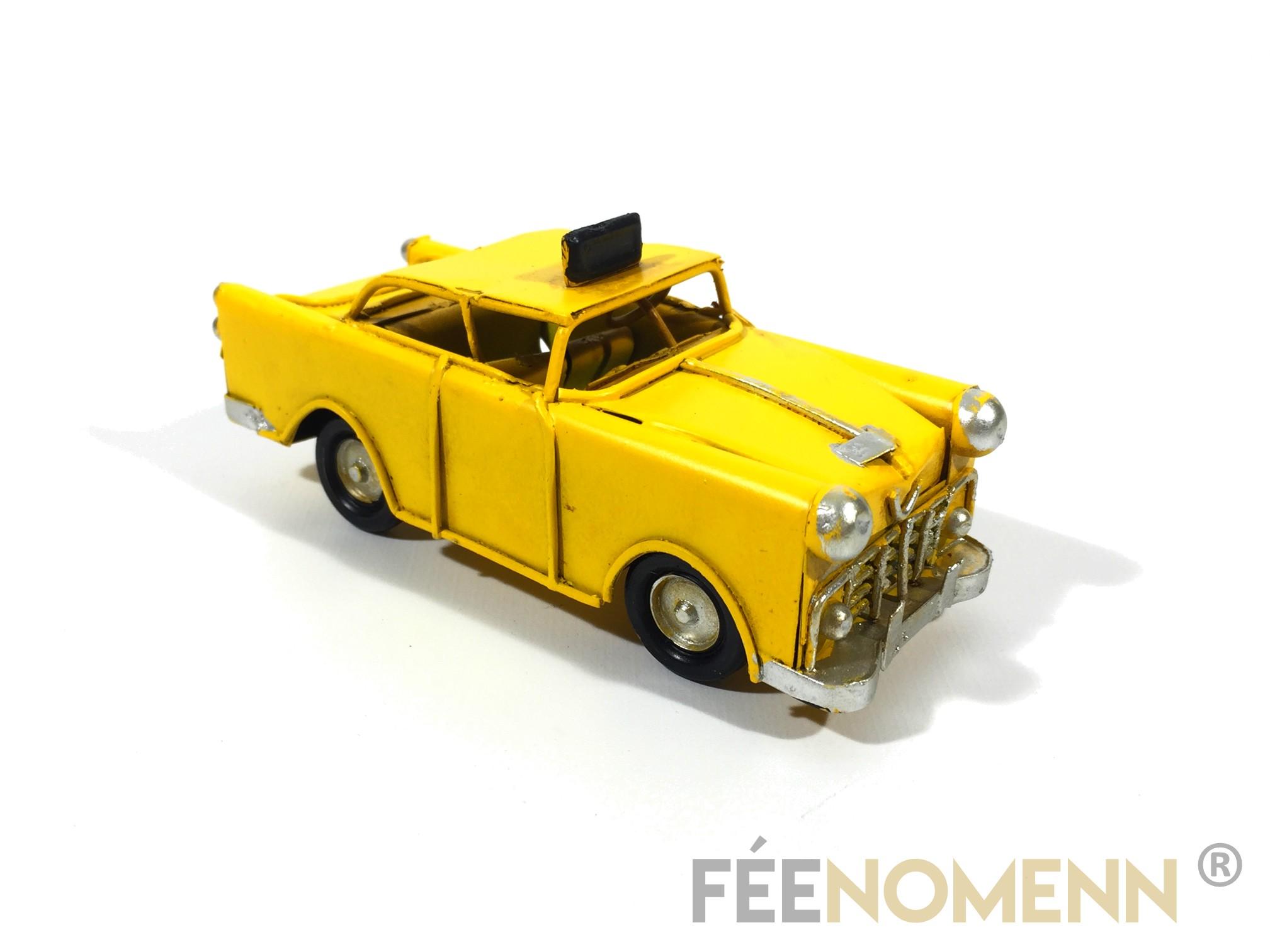 Voiture Métal Deco Vintage - Ancien Taxi Jaune New York (11x5cm)