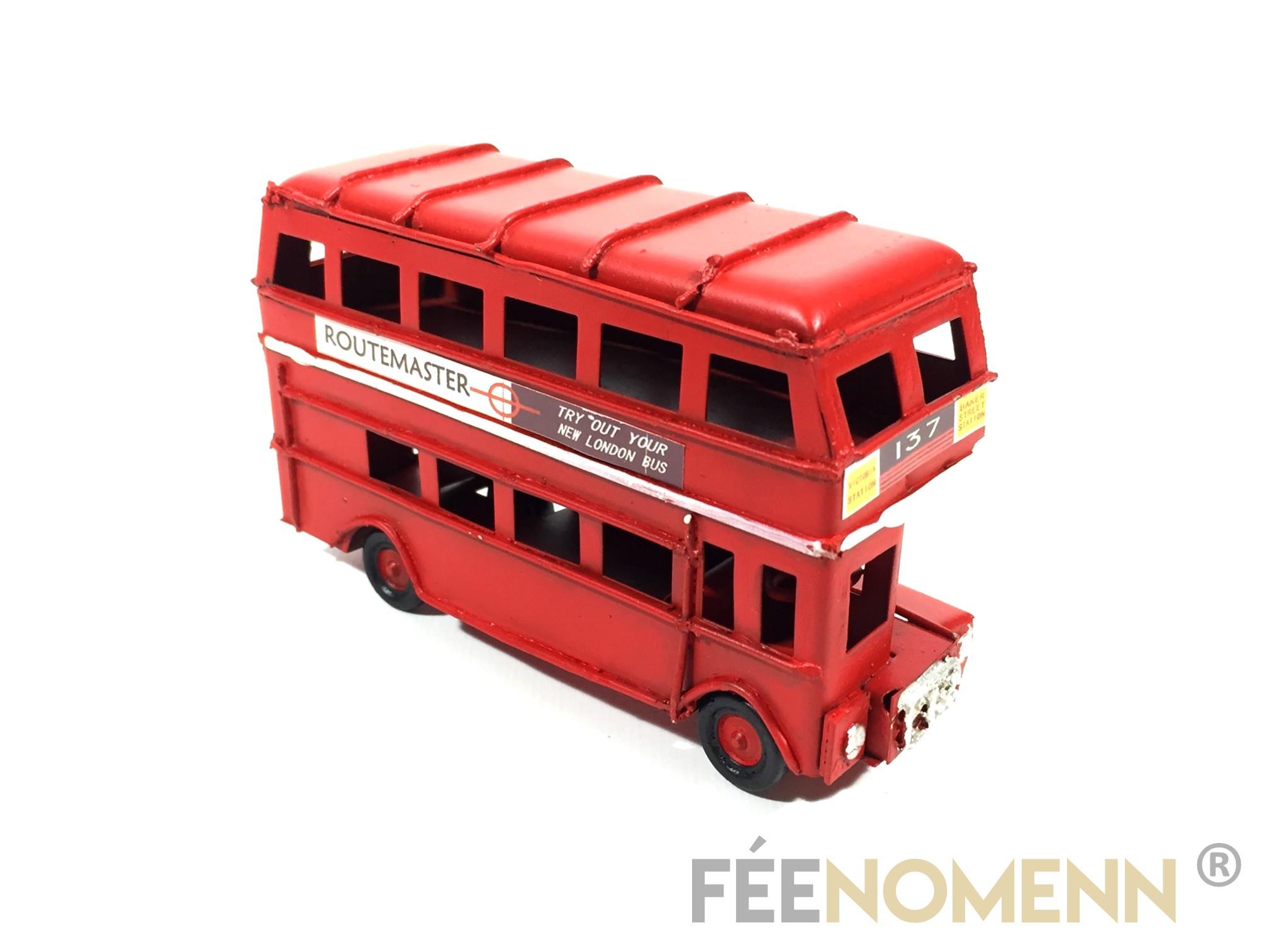 Voiture Métal Deco Vintage - Ancien Bus Londres (11,5x4cm)
