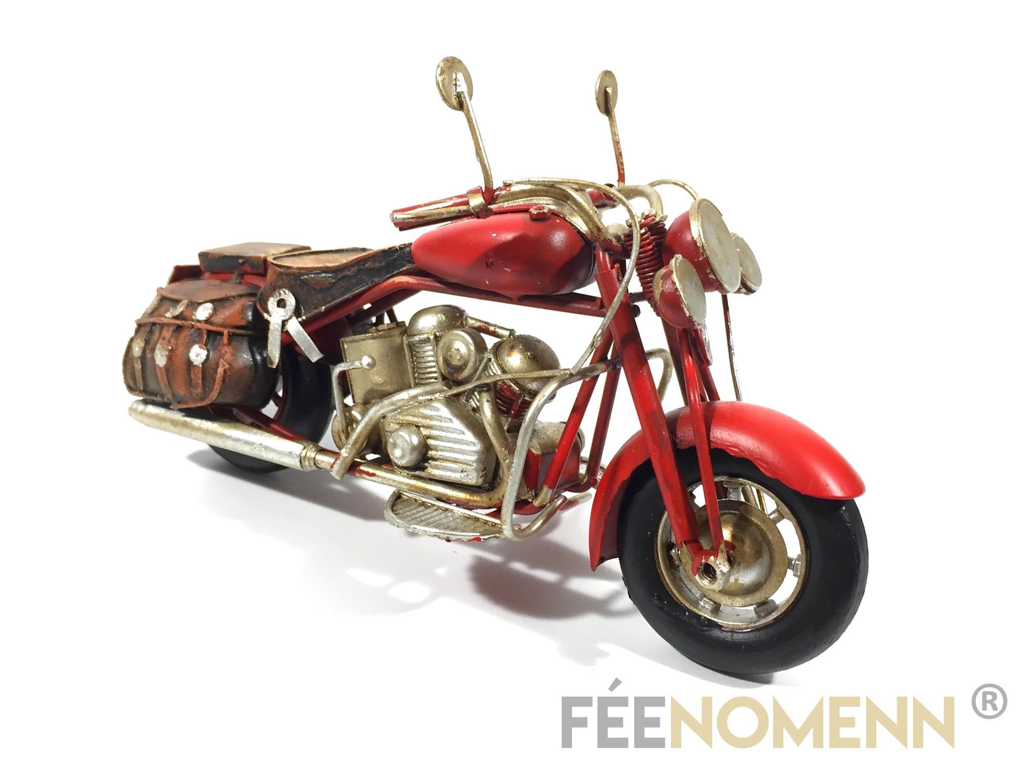 Moto Métal Deco Vintage - Ancienne Indian Rouge (19x8cm)