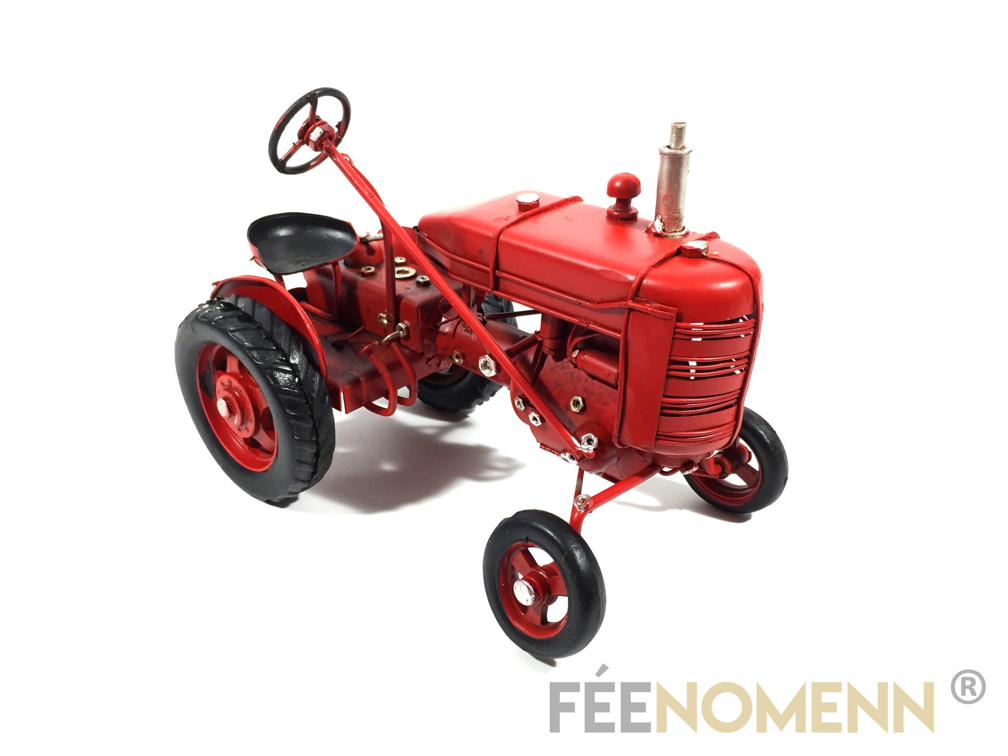 Voiture Métal Deco Vintage - Ancien Tracteur Rouge (17x10cm)