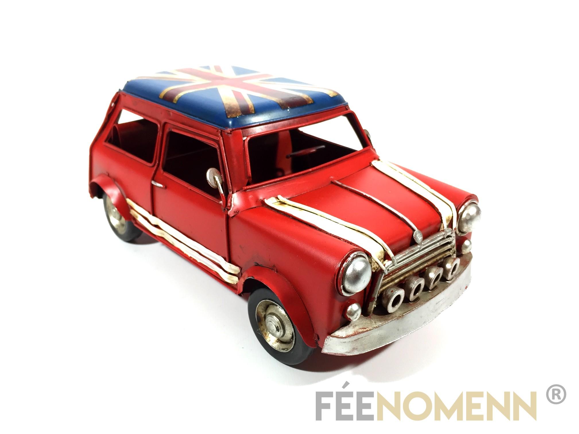 Voiture Métal Deco Vintage - Ancienne Mini avec Drapeau Britannique (25x12,5cm)