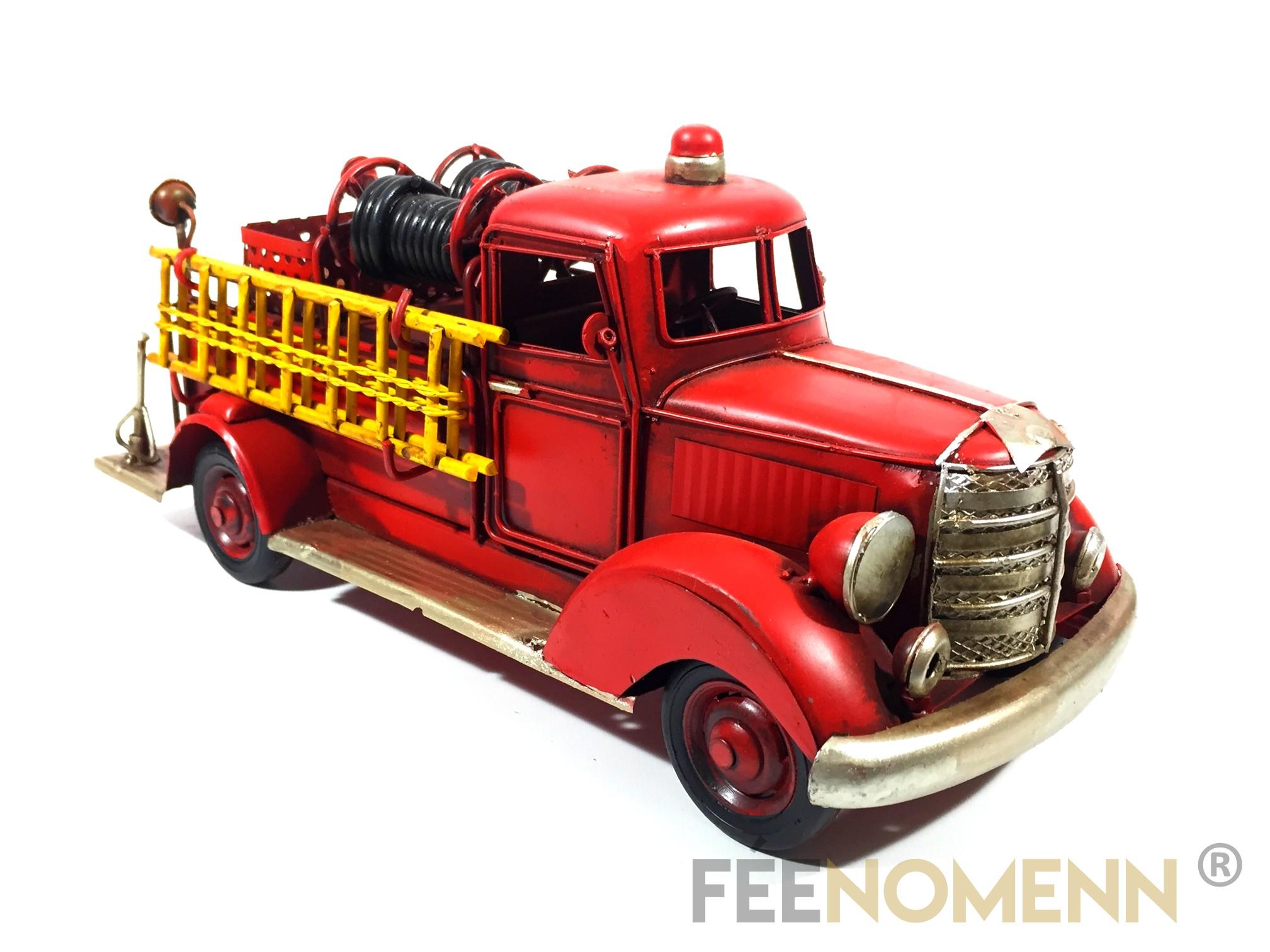 Vehicule Métal Deco Vintage - Ancien Camion Pompier (30x12cm)
