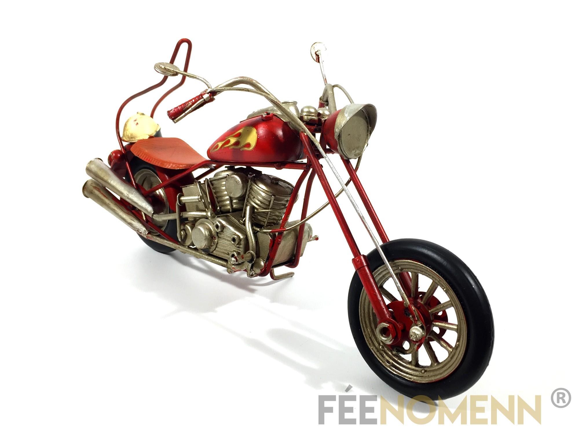 Moto Métal Deco Vintage - Ancienne Harley Rouge Flamme (33x11,5cm)