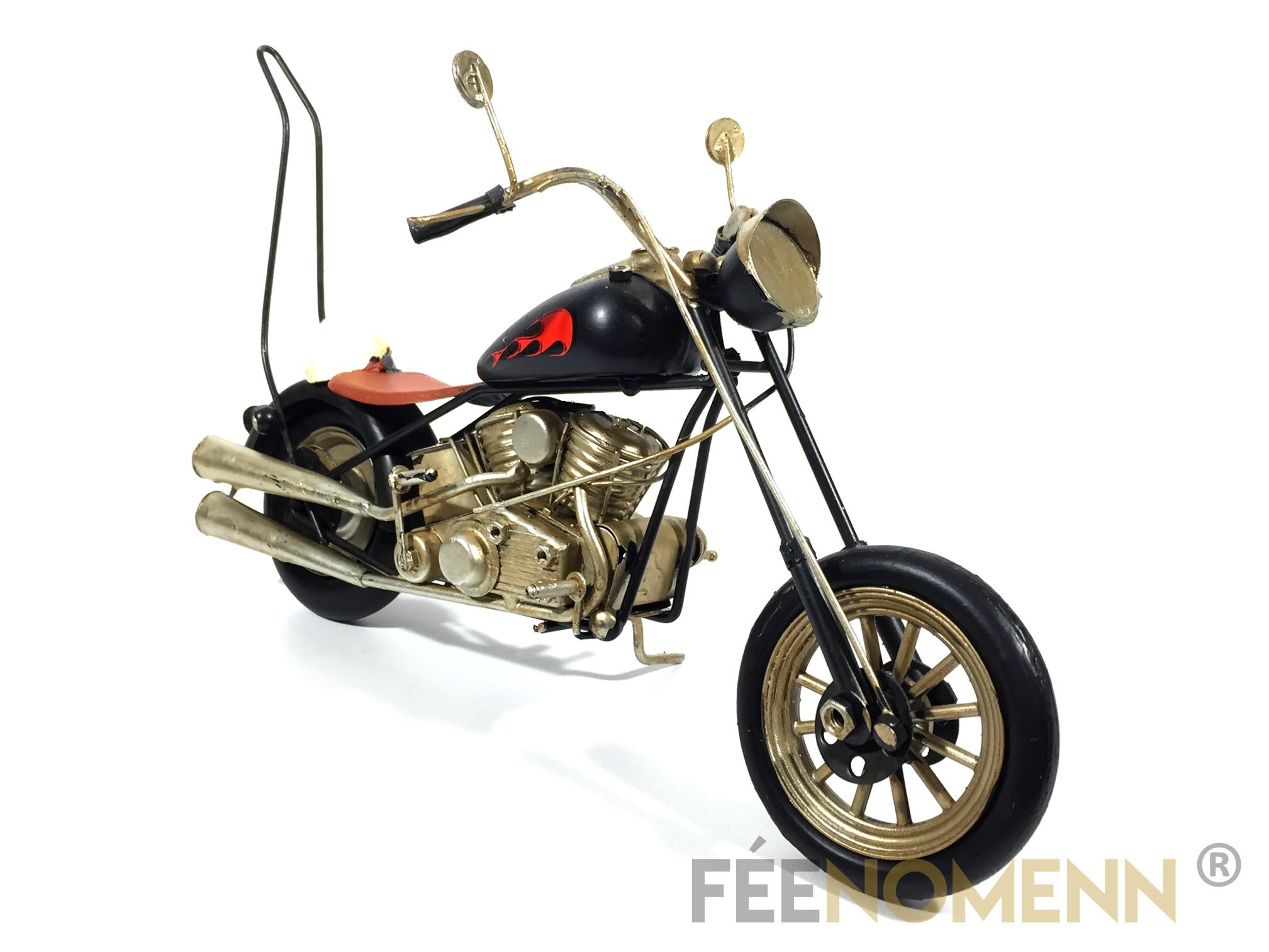 Moto Métal Deco Vintage - Ancienne Harley Noire Flamme (33x11,5cm)