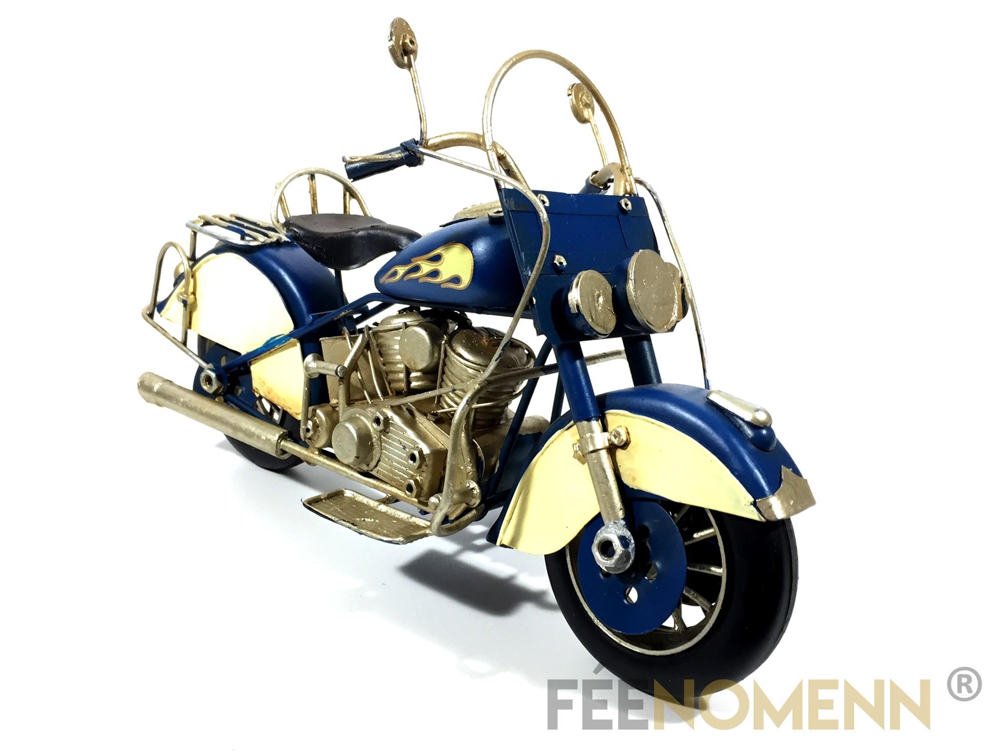 Moto Métal Deco Vintage - Ancienne Harley Bleue Flamme (29x11cm)