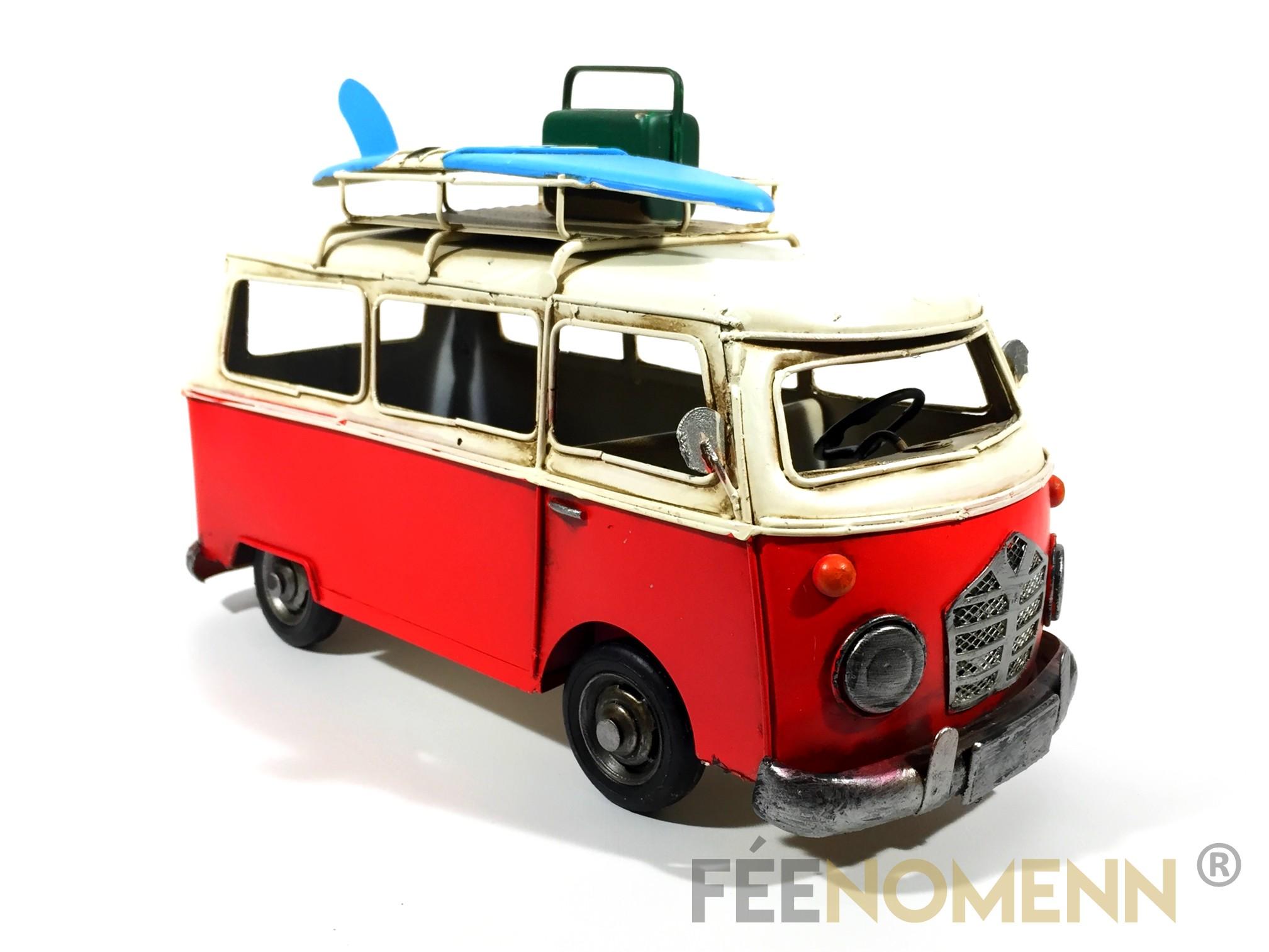 Voiture Métal Deco Vintage - Ancien Combi Rouge Surf et Valise (28x14cm)