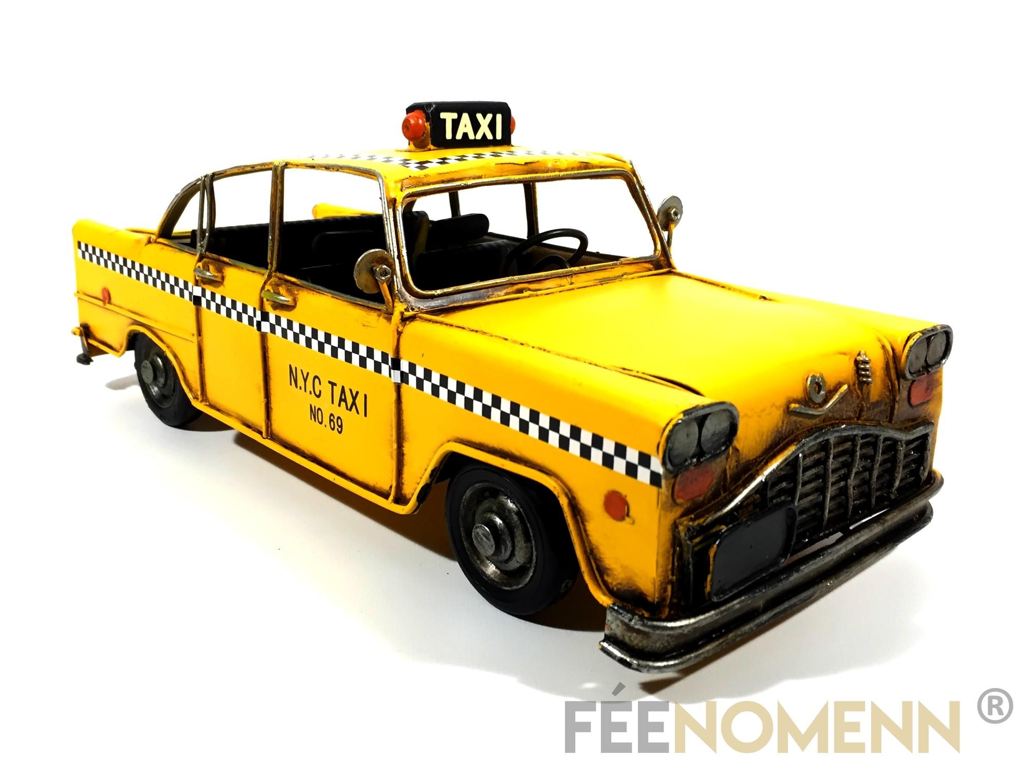 Voiture Métal Deco Vintage - Ancien Taxi Jaune New York (32x13,5cm)