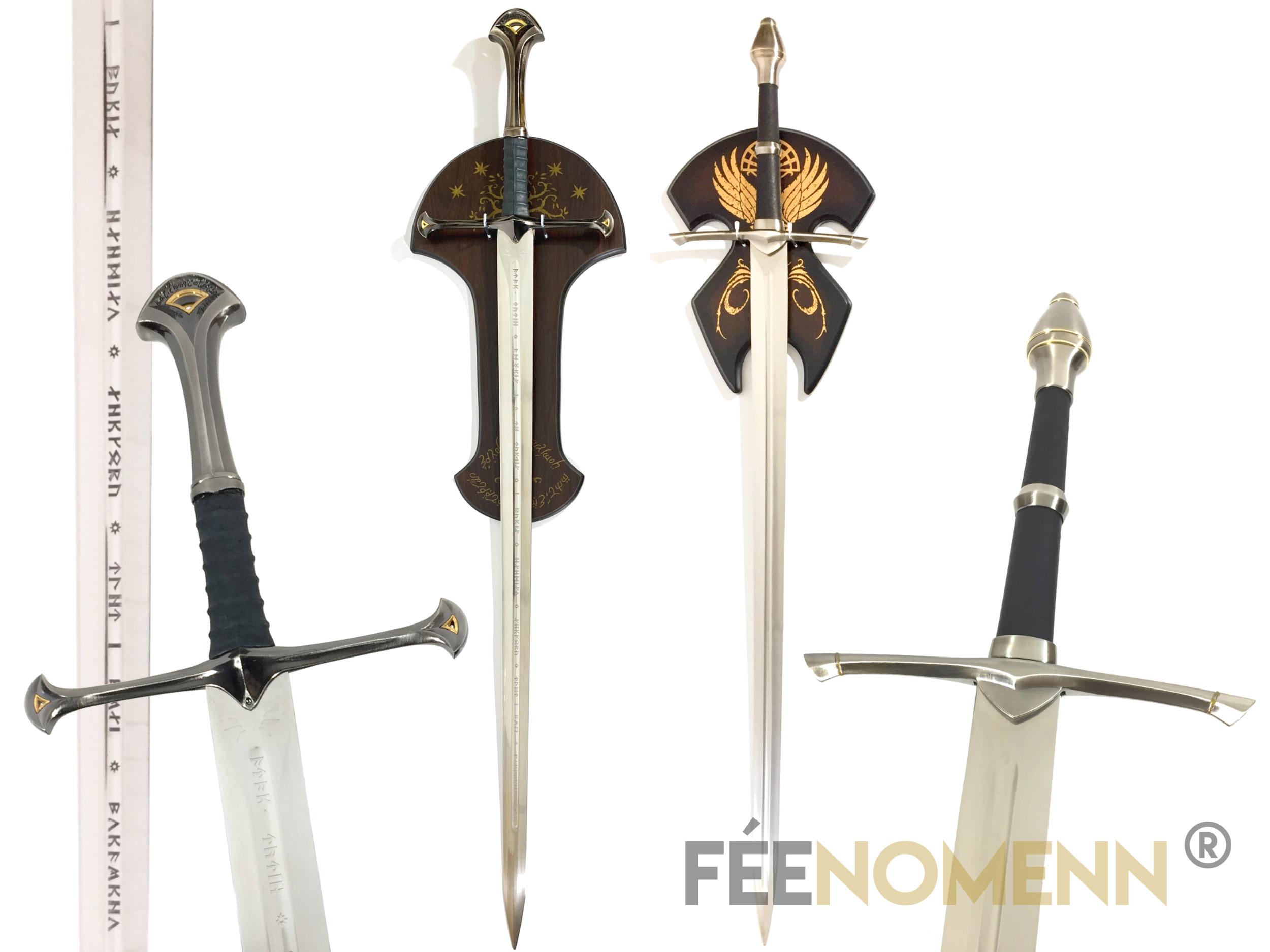 LE SEIGNEUR DES ANNEAUX - PACK ARAGORN (version avec plaques murales) - Réplique 2 Epées : Anduril, Rodeur