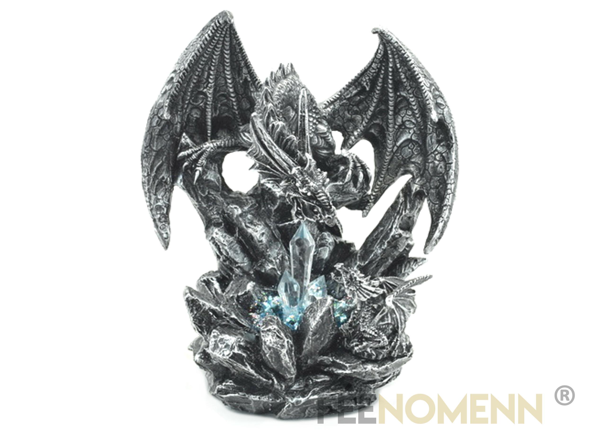 Statuette Dragon Cristal Père et Fils (H20 x L17cm)