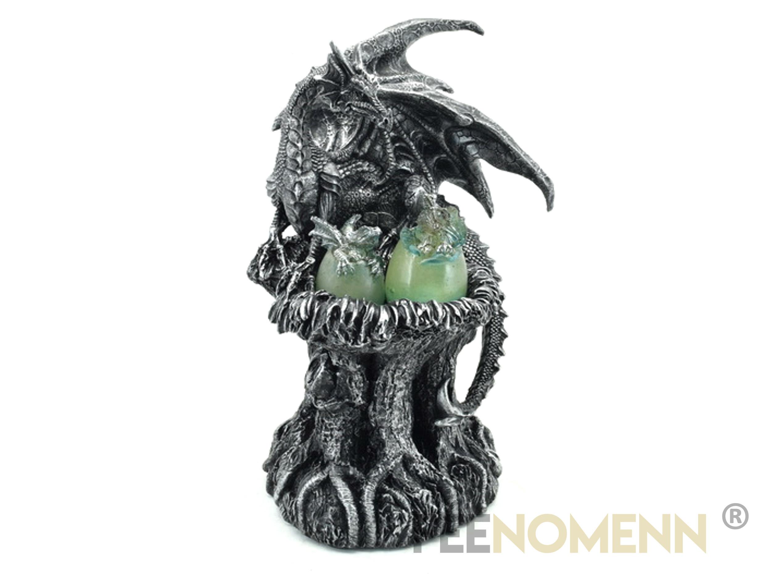 Statuette Dragon Oeufs Verts (H25 x L16cm)